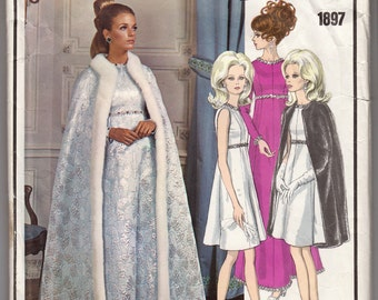 1960s Yves Saint Laurent Vogue Paris Original 1897 Cape And High Waisted Dress In Two Lengths - Size 12 Bust 34 - Vintage Sewing Pattern