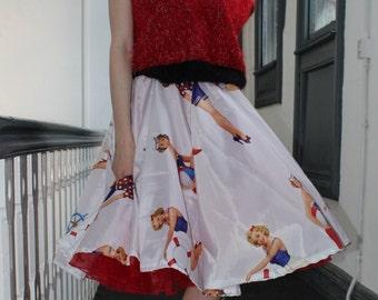 White 50s Pin Up Burlesque Circle Skirt Rockabilly Alternative