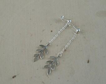 Silver Leaf Earrings / Leaf Earrings / Sterling Silver Earrings / Rustic Earrings / Rustic Earrings / Dangle Drop Earrings / Leaf Jewelry
