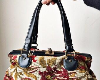 Vintage Tapestry Purse, Retro Carpet Bag Handbag, Floral Needlepoint Aetna 50s 60s 70s Satchel, Red Black Boho Tapestry Bag