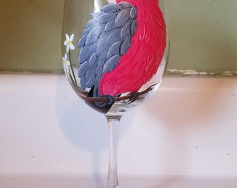Rose Breasted Cockatoo/Gala hand painted wine glass