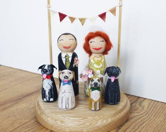 Cute Kitsch Custom Vintage Shabby Personalised Wooden Peg Doll Wedding Cake Topper Pet Child option