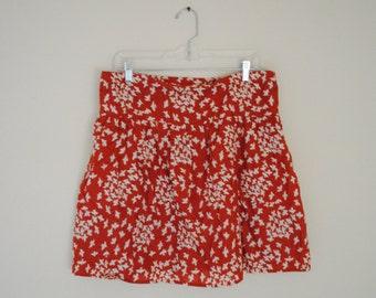 Vintage Printed Mini Skirt With Bird Design - Size Medium - 100% Cotton