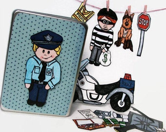 Cops and Robbers Magnetic Toy Set, Police Officer Imaginative Playset for Kids, Policeman Themed Fridge Magnets, Magnetic Paper Doll Set
