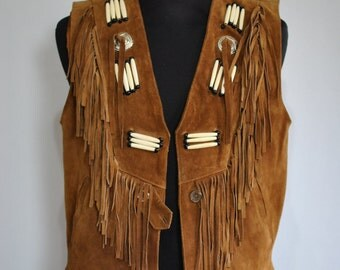 Vintage TABINO'S LEATHER VEST , men's leather vest ....(053)