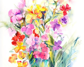 Wallflowers - Original Watercolour Painting, Original Floral Art, Wallflower Painting, Spring Flower Painting, Spring Floral Art