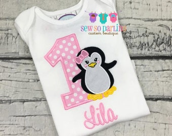 1st birthday penguin Outfit - First birthday outfit girl winter - Birthday penguin Shirt - Pink Penguin Birthday outfit