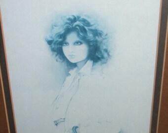 """Vintage 1970s Sara Moon Framed Retro Print """"Jennifer"""" - 33cm x 40cm"""