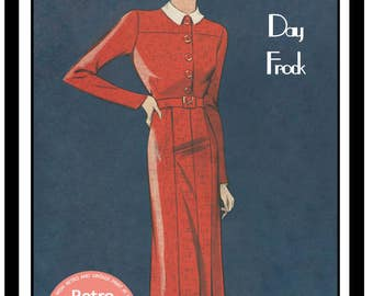 1930s  Smart Spring Frock Sewing Pattern - Full Size PDF Dress Sewing Pattern - PDF  Instant Download