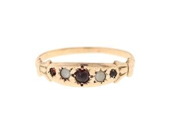 Antique Rose Gold Garnet & Pearl Band, Victorian Garnet Ring