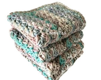 Handmade Dish Cloths Set of 4 Pink Blue Pastel Wash Cloths Crochet Kitchen Dishcloths Eco Friendly Cotton