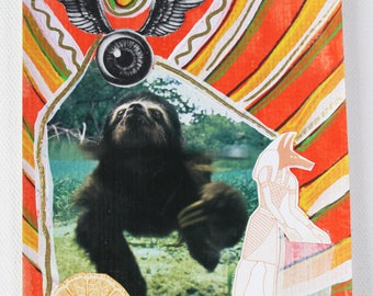 Surreal Sloth Anubis Winged Eye Original Collage Art Postcard