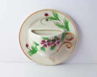 Ceramic Teacup Saucer Wall Pocket Japan Vintage Floral Kitchen Decor Morikin? - 6 inches
