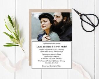 Photo Wedding Invitation Template, Printable Photo Frame Wedding Invitations, LDS Wedding Invitation, Editable PDF Templates, DIY You Print