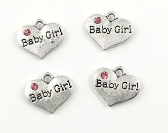 4 baby girl heart charm antique silver 15mm #CH 239
