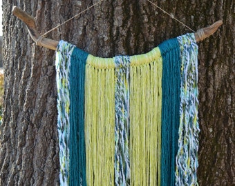 Bohemian Yarn Wall Hanging | Large Colorful Wall Decor | Wall Hanging Tapestry | Boho Chic Nursery Decor | Teal and Lime Yarn