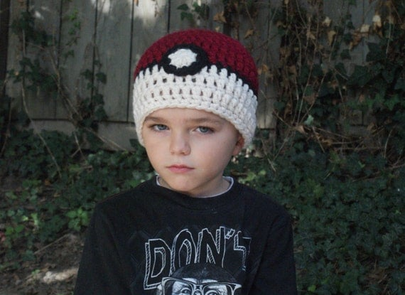 Crochet Pokeball Inspired Hat Pattern. Sizes: 6-12, 12-24 months, Preschooler, Child, and Adult. - PATTERN ONLY