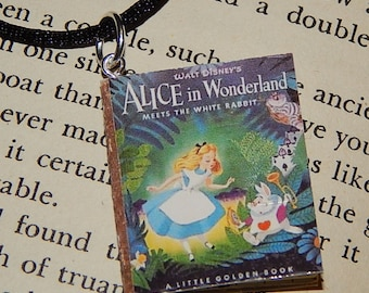 Alice in Wonderland Golden Book Necklace, Brooche, or Keychain