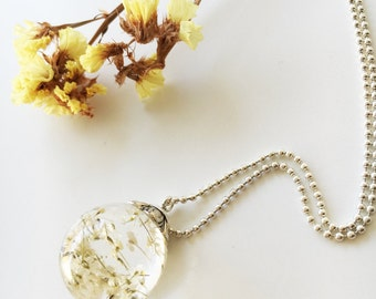 White flower Pendant, Flower Wish Jewelry, Make a Wish,Real Flower, Botanical Jewelry, Whimsical Bridal Jewelry,