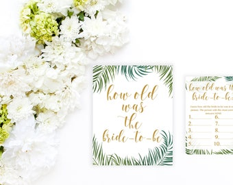 How Old Was the Bride to Be Bridal Shower Printables, Tropical Bridal Shower Game Printable, Bridal Shower Printable Games, Palm Leaves BRS4