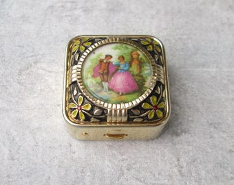 Gold plated pill box pillbox gold plated, pills box, container, box sniffed