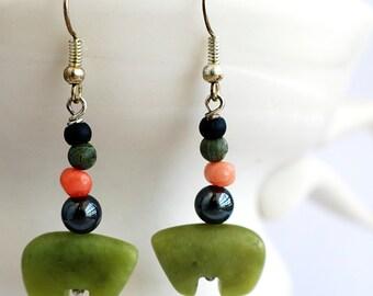 """Bear Earrings, New """"Jade"""" Stone Jewelry, Alaskan Made, Organic"""