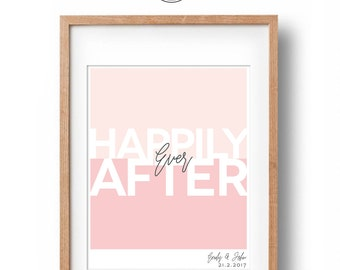 Happily Ever After | Personalised Engagement Gift | Colour Block Typography Art Print | Wedding Gift | Engagement Present | Digital File