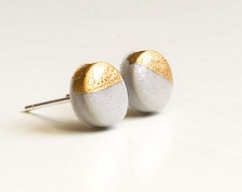 Glossy Gold - Silver Circle Stud Earrings