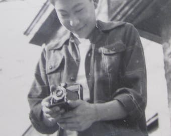 1940's Photographer Shoots Photo Of A Japanese Photographer Snapshot Photo - Free Shipping