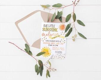 Printable Our Little Sunshine Kids Birthday Invitation