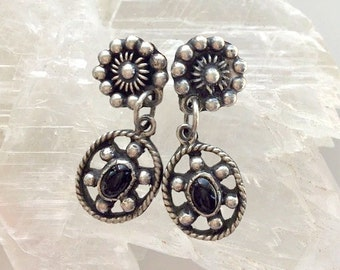 Vintage Sterling Silver and Black Onyx Earrings - Two Part Round and Oval Southwestern Style Earrings With Silver Dots