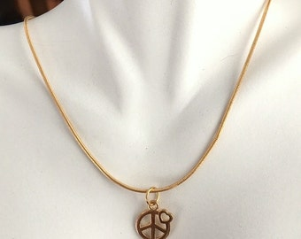 Minimalist Peace Sign With Heart Gold Necklace - Smooth Gold Filled Chain and Peace Sign With Tiny Heart Necklace