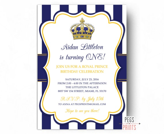 Royal Prince Birthday Invitation Printable Prince Birthday