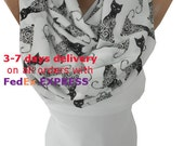 Cat Scarf Infinity Scarf Animal Scarf Halloween Fall Autumn Winter Scarf Accessories Birthday Gift Cat Lover Gift Christmas Gift For Her