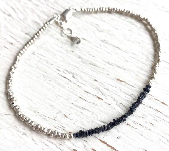Raw Diamond Bracelet - Black Diamond Beads - Minimalist Diamond Jewelry - April Birthstone -Wedding - Thai Silver Bracelet, Black Diamond