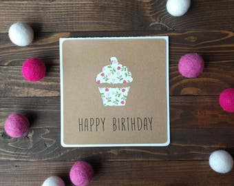 Happy Birthday Cupcake - set of cards, blank cards, birthday cards, square cards, envelopes included