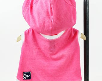 Pink Small Dog T-shirt Hoodie Upcycled Sleeveless White Trim Girl or Boy Dog Ready to Ship