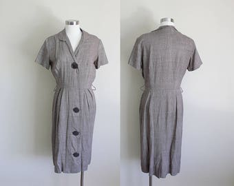 1950s Brown Tweed Dress | Collared Dress | Shirtwaist Dress | Big Button Dress |  Medium