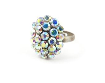 Vintage Aurora Borealis Ring, Cluster, Rhinestones, Silver Tone, Adjustable