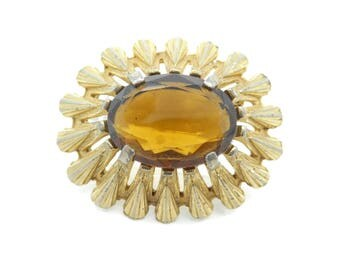 Vintage Large Rhinestone Brooch, Brown Glass, Gold Tone