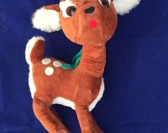 1960s Vintage Ideal Toy Reindeer Stuffed Animal, Vintage Christmas Reindeer Plush Carnival Prize, Rare Stuffed Deer
