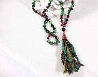 Mala Necklace - Green Pink - 108 Bead Necklace - Ruby Zoisite