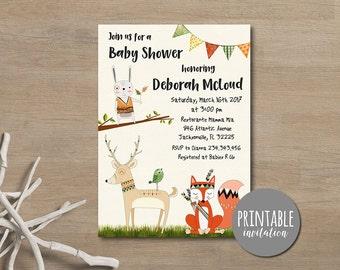 Woodland Invitation Fox Baby Shower Invitation, Printable Baby Shower Invitation Boy Woodland Baby Shower Invitation Deer baby shower invite