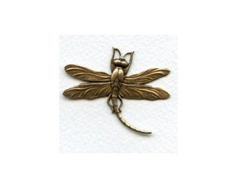 Vintage Dragonfly Pendant, Focal, Stamping, Component, Connector - Hand Stamped - Antique Brass - 50mm x 40mm - 01 Each
