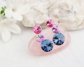 Rose pink denim blue Swarovski crystal earrings Bridesmaids wedding Swarovski jewellery Sterling Silver stud earrings  3 Rivoli earring