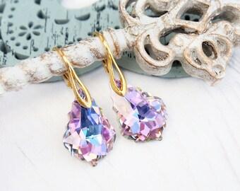 Teal purple Swarovski crystal earrings Bridesmaids gift Silver gold bridesmaids wedding earrings Vitrail light Swarovski baroque jewellery