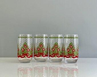 Set of 4 vintage christmas glasses