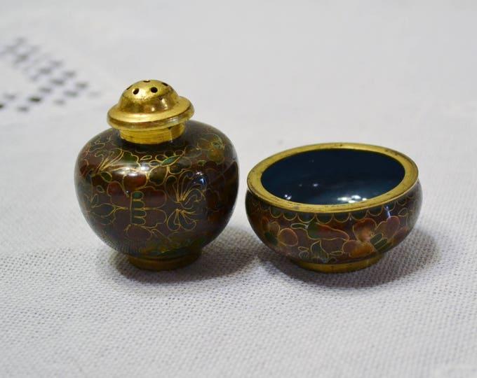 Vintage Cloisonne Salt Pepper Shaker Set Stacking Small Enamel Over Brass Brown Gold Blue PanchosPorch