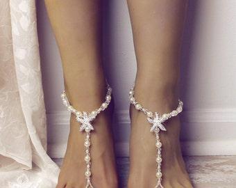 Starfish Barefoot Sandals Beach Wedding Sandals Foot Jewelry Starfish Foot Thong Barefoot Sandles Bridesmaids Gift Destination Wedding Shoes