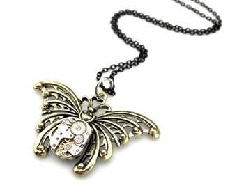 Rustic Butterfly Necklace  -  Edwardian Steampunk Watch Butterfly Pendant - Bronze Butterfly Necklace - Steampunk gift idea for her